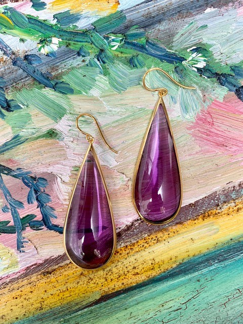 Lucas Jack Perpetua Large Drop Earrings - Resin with 18ct Gold Plated - London - Purple