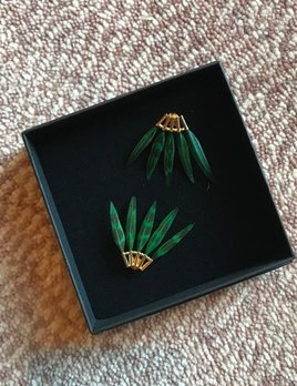 Stalactite Baby Gazelle Feather Earrings - Green - Gold Plated - Paris