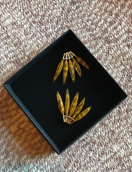Stalactite Baby Gazelle  Feather Earrings - Yellow - Gold Plated - Paris