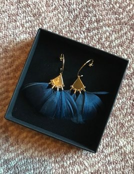 Stalactite Papillon Feather Earrings - Dark Blue - Gold Plated - Paris