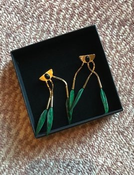 Stalactite Bo Savana Feather Earrings with Onyx - Green - Gold Plated - Paris