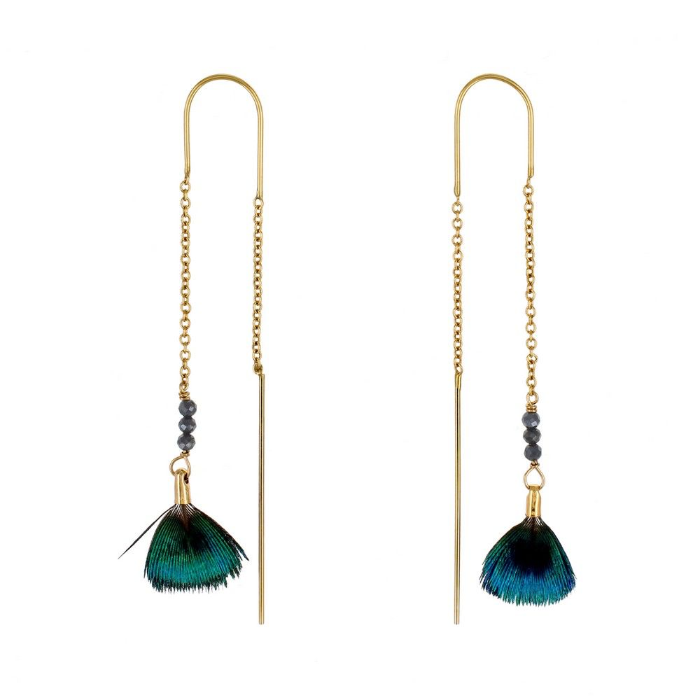 Stalactite Bo River Paon Thread Feather Earrings - Blue - Gold Plated - Paris