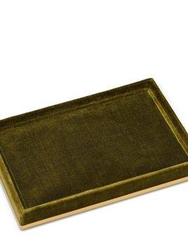 Aerin AERIN - Valentina Velvet Rectangular Tray - 24x17cm H2.5cm - Moss Green