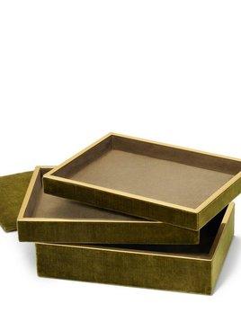 Aerin AERIN - Valentina Velvet Stacked Jewellery Box - 29x21.5xm H15cm - Moss Green