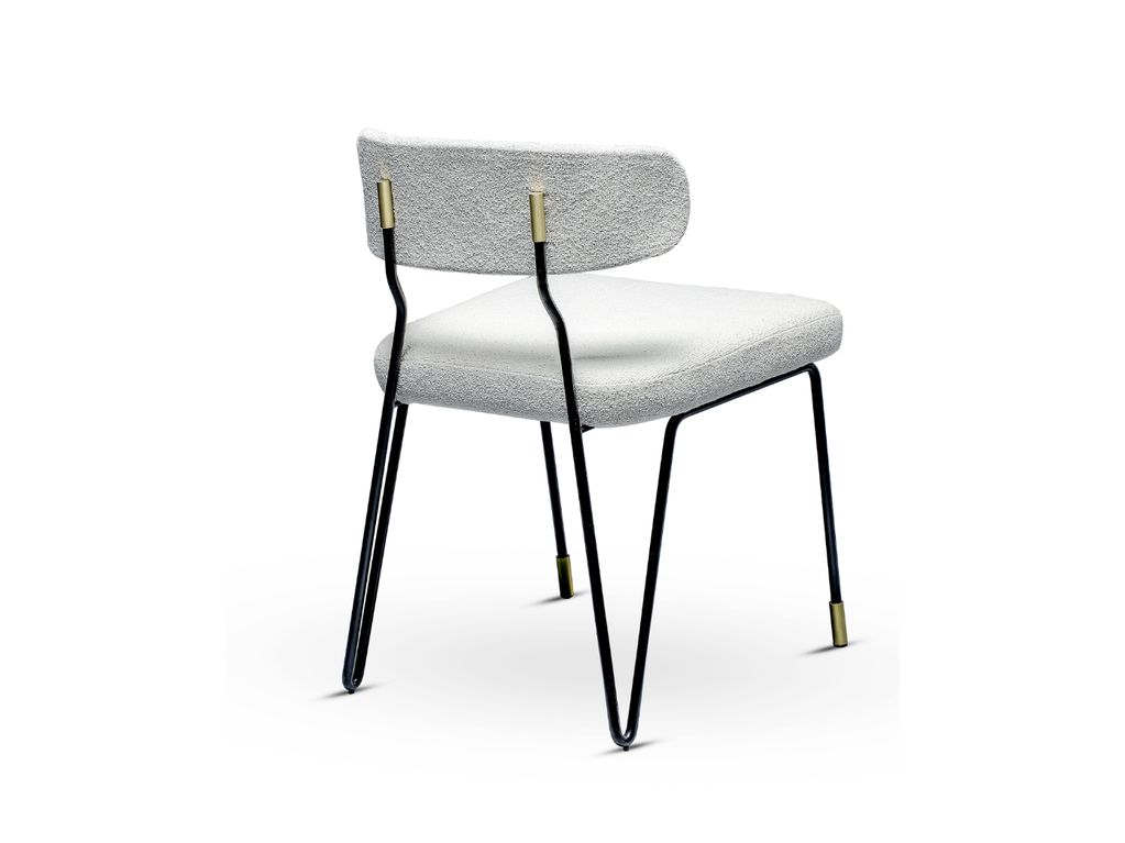 Apollo Chair - Black Lacquered Iron Structure and Brushed Brass Detail - Portugal W50.5xD52xH79cm