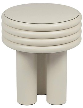 giobagnara Scala Leather Side Table - Ivory Nappa - Giobagnara for Becker Minty - D40.5cm H46 cm - Made in Italy - BY ORDER ONLY - Various Colours Available - Lead Time Approx 12-16 weeks