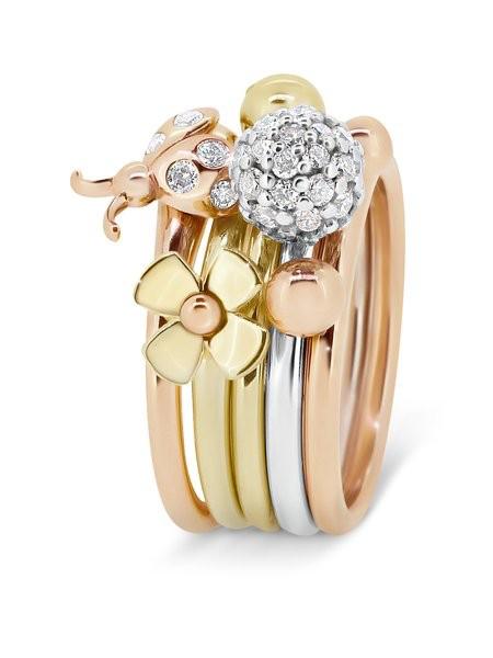 Rick Southwick - La Bella 14ct Rose Gold Diamond Ladybug Ring Set with 7 Diamonds = 9 Points - Handcrafted in Australia