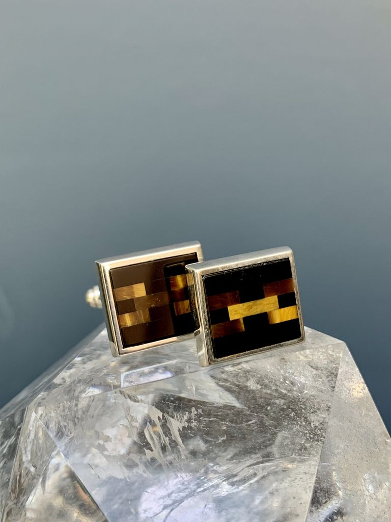 Rick Southwick - Sterling Silver Cufflinks with Tigers Eye Links Jade - Handcrafted in Australia