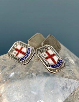 Vintage Sterling Silver and Enamel Cufflinks - LONDON - E J Trevitt & Sons - c1950