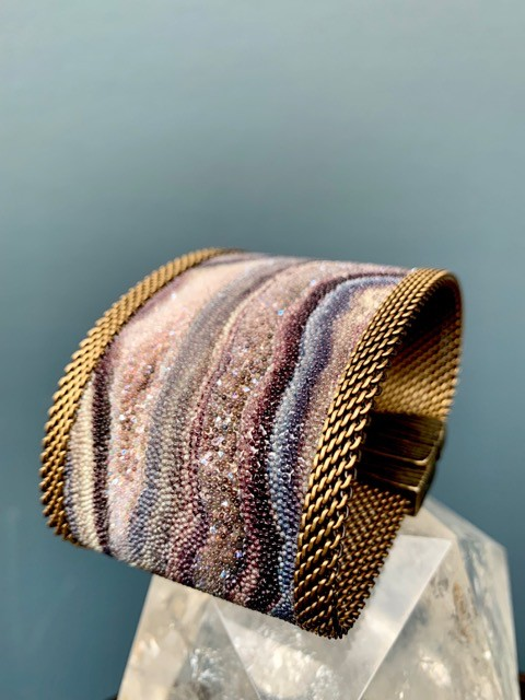 Cynthia Desser Shagreen Wide Cuff with Shimmer - Taupe Pink with Brass Mesh & Magnetic Clasp