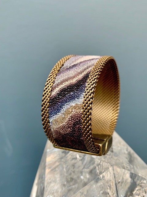 Cynthia Desser Shagreen Narrow Cuff with Shimmer - Taupe Pink with Brass Mesh & Magnetic Clasp