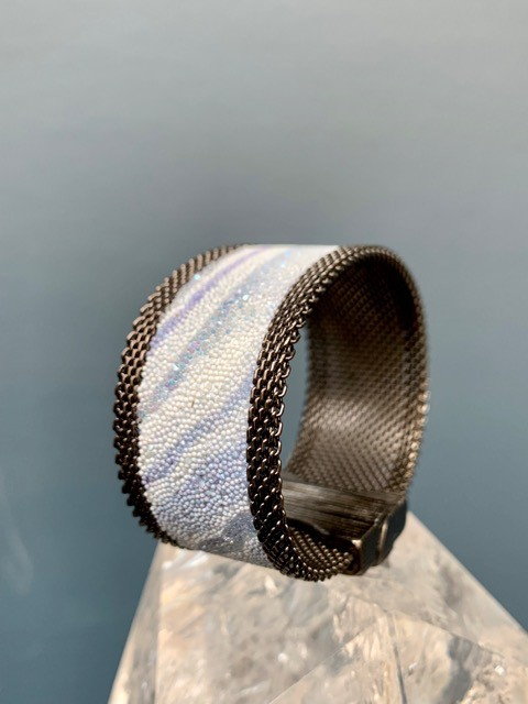 Cynthia Desser Shagreen Narrow Cuff with Shimmer - Pale Blue with Gunmetal Mesh & Magnetic Clasp