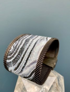 Cynthia Desser Shagreen Wide Cuff with Shimmer - Black Grey with Gunmetal Mesh & Magnetic Clasp