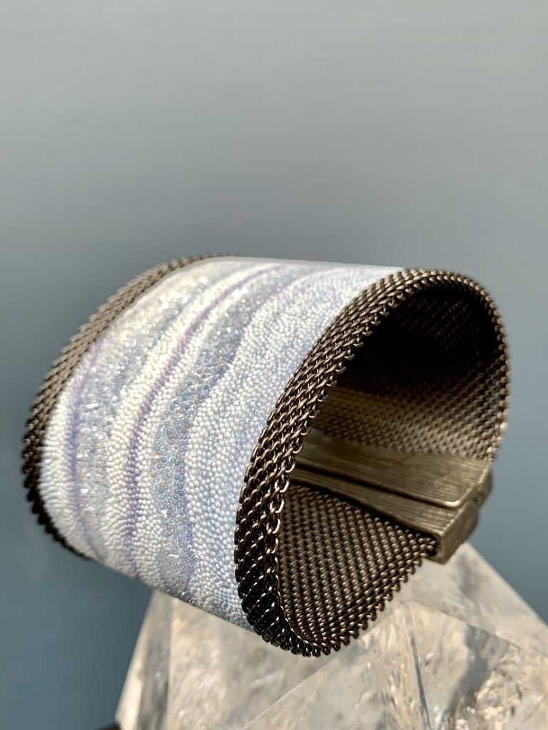 Cynthia Desser Shagreen Wide Cuff with Shimmer - Pale Blue with Gunmetal Mesh & Magnetic Clasp