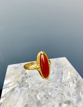 Jan Hooft - Carnelian Ring with 22ct Yellow Gold - Handmade in Australia