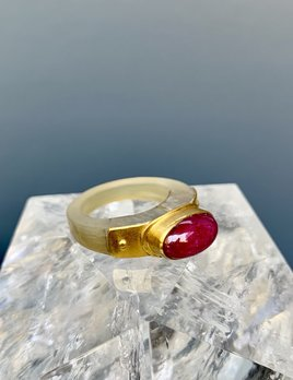 Lisa Black Jewellery - Ruby Monarch Horn Ring - Deep Red Ruby Chrysoprase - 22ct Gold -  Handmade in Australia