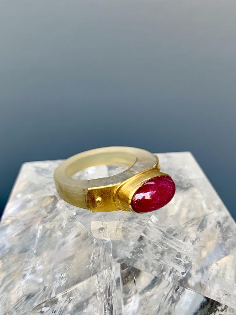 Lisa Black Jewellery - Ruby Monarch Horn Ring - Deep Red Ruby Chrysoprase - 22ct Gold -  Handmade in Australia