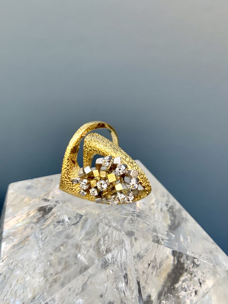 B.M.V.A. Vintage 18ct White and Yellow Gold Diamond Ring - Brutalist Style c1970