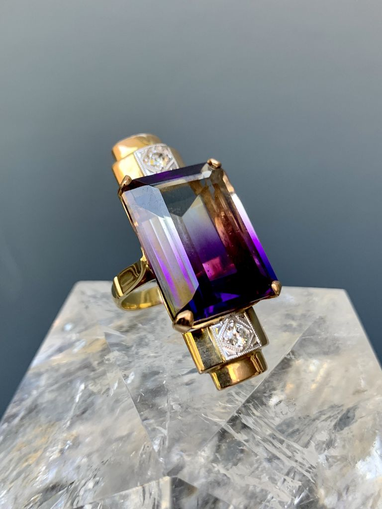 B.M.V.A. Vintage 18ct Yellow Gold Amethyst and Diamond Dress Ring - corner claw set with a rectangular step cut colourless and purple zoned amethyst measuring 20.55x15.70x7.95mm