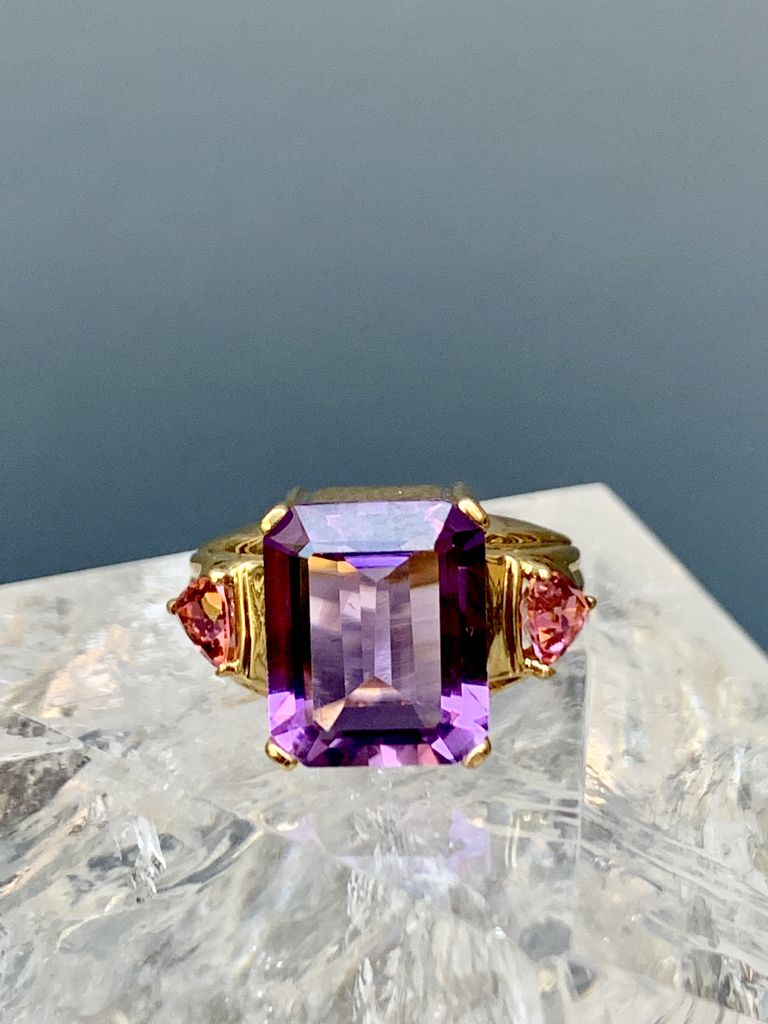 Vintage 10ct Yellow Gold, Amethyst and Tourmaline Dress Ring - Rectangular Step Cut Amethyst (4.50ct) and 2 Triangular Mixed Cut Pink Tourmalines (Total .60ct)