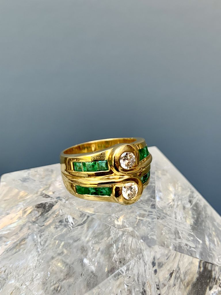 Vintage Diamond and Emerald Double Ring - 18ct Yellow Gold - c1980