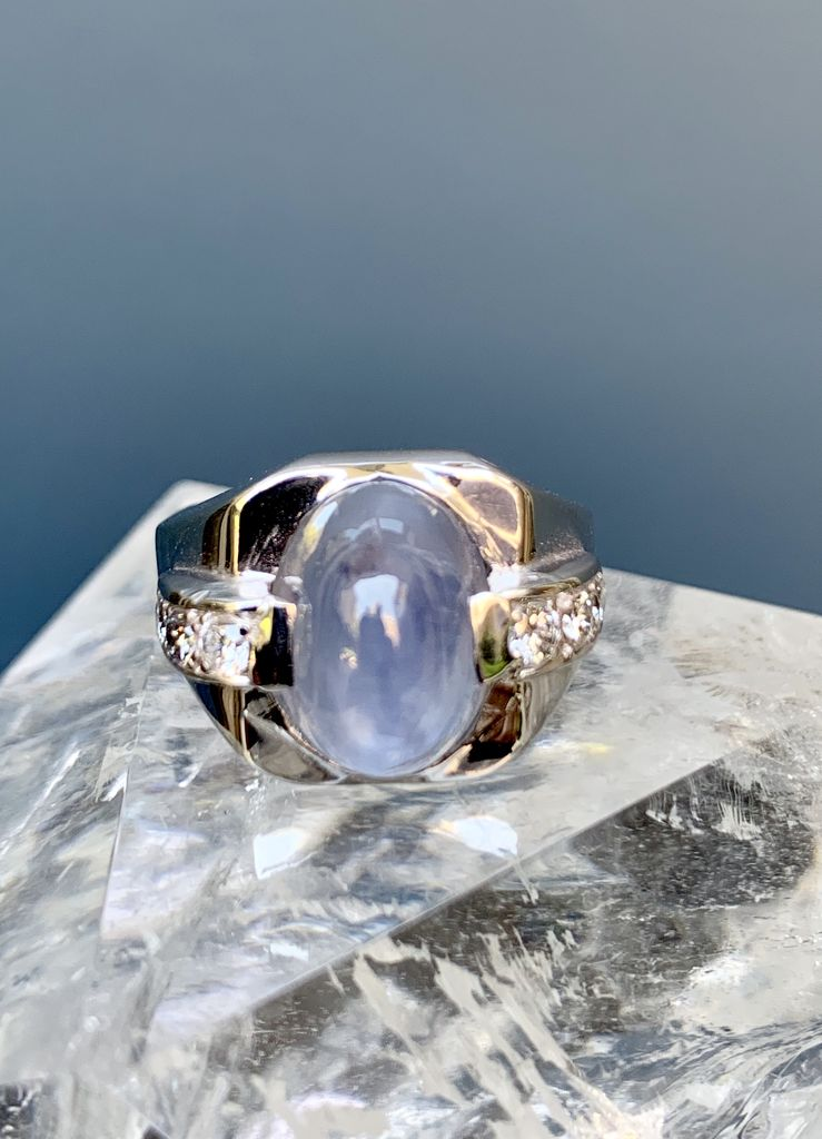 Vintage Ceylon Blue Star Sapphire and Diamond Ring - 14ct White Gold c1950