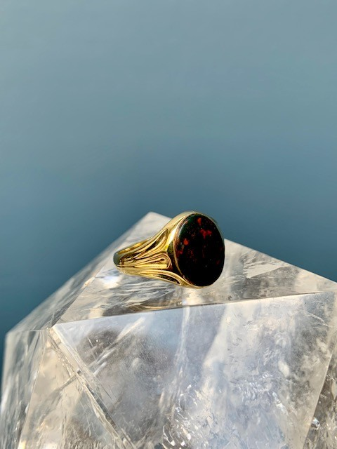 B.M.V.A. Vintage 14ct Yellow Gold and Oval Shape Bloodstone Signet Ring - Bezel Set c1900