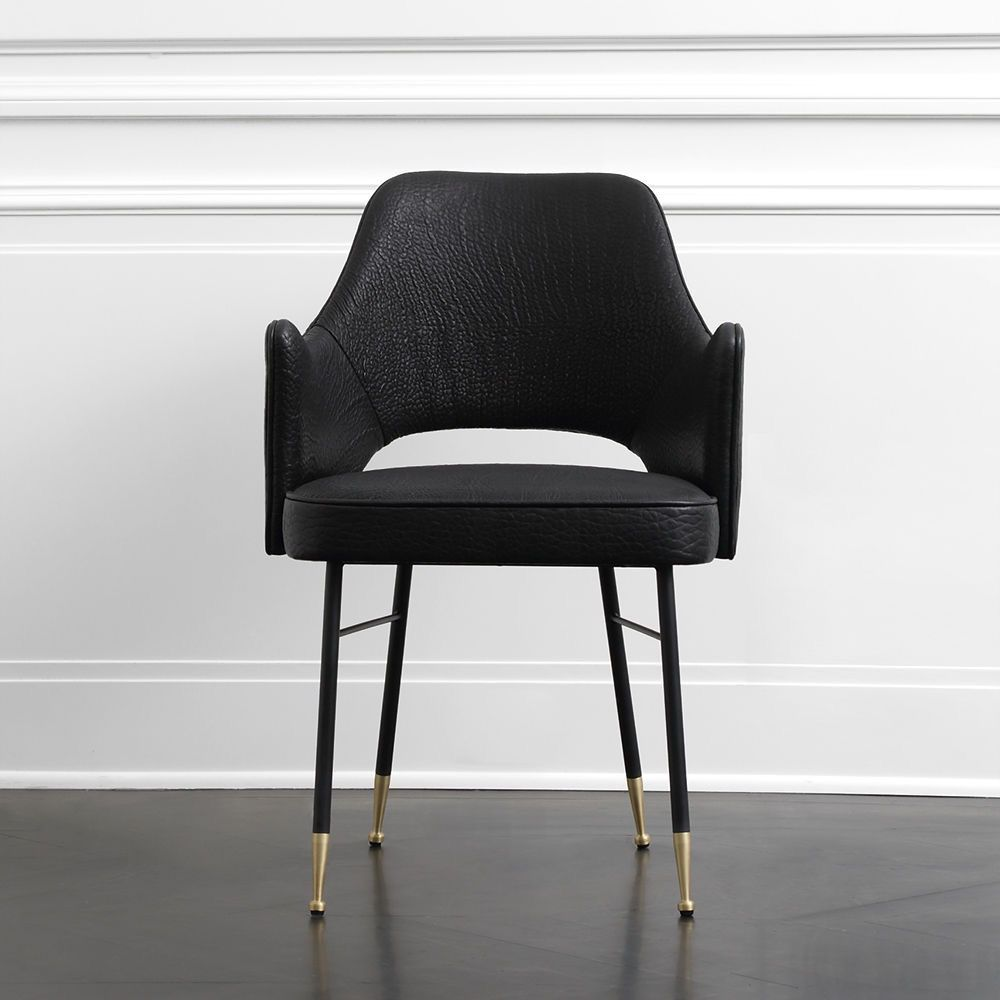 "Kelly Wearstler Kelly Wearstler - Rigby Chair - Width: 22 .5"" Depth: 19.5"" Height: 34"" Seat Height: 17.5"" Material: Blackened steel, bronze, and leather upholstery."