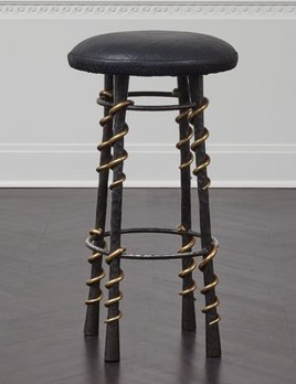"Kelly Wearstler Kelly Wearstler - Serpent Bar Stool - 15"" Dia x 29"" H <br /> Material: Hand wrought steel frame, bronze detailing, leather upholstery."