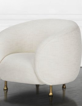 "Kelly Wearstler Kelly Wearstler - Lucien Chair in Precise Snow Fabric 35""W x 35""D x 30.625""H"
