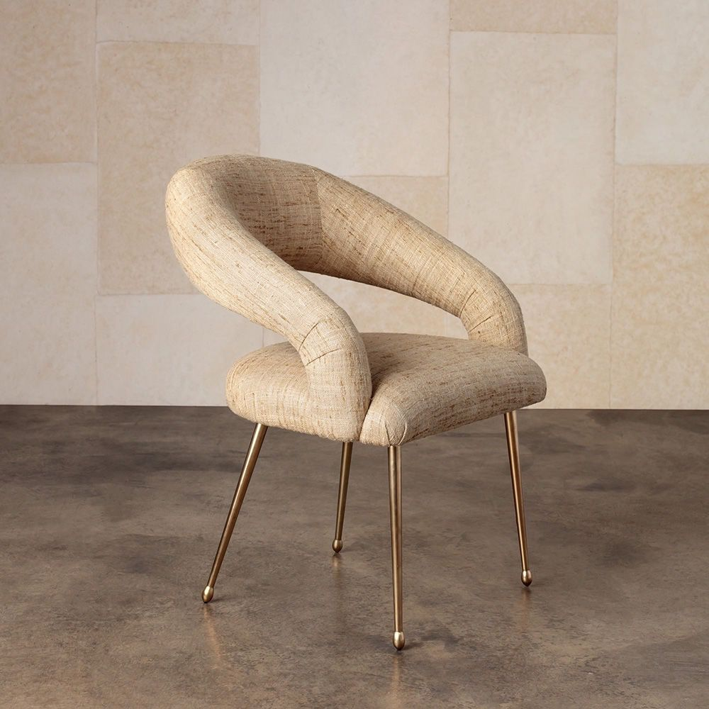 "Kelly Wearstler Kelly Wearstler - Lucien Dining Chair in Sonoma Straw Fabric 25""W x 24""D x 32""H <br /> Material: Burnished Bronze with Upholstery"