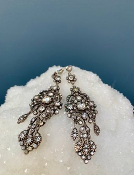 Sterling Silver and French Paste Chandelier Earrings - Georgian
