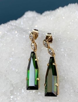 Vintage 18ct Yellow and White Gold, Tourmaline and Diamond  Earrings - 2 Modified Step Cut Tourmalines (2=2.6ct Total) and 2 Bezel Set Marquise Cut Diamands (4=.28 Total H-I/VS-SI c1940