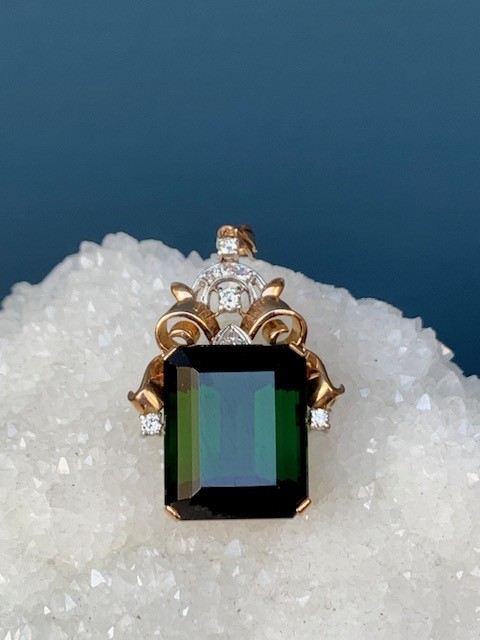 Vintage 18ct Yellow and White Gold Tourmaline and Diamond Pendant - Rectangular Step Cut Deep Green Tourmaline (25.35ct) with 4 Claw Set Round Brilliant Cut Diamonds and 4 Bead Set Single Cut Diamonds (4=.17ct Total and 4=.06ct Total all H/VS/SI) - c1940
