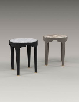 Akar de Nissim Akar De Nissim - GUIMAR 45 - Anthracite Oak and Carrara Marble Bedside Table or Side Table - H45 x D37.5cm - Custom Made to Order