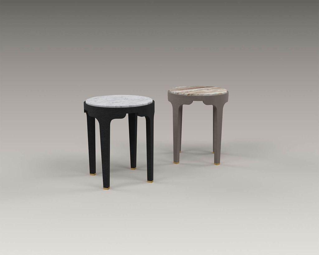 Akar de Nissim Akar De Nissim - GUIMAR 45 - Anthracite Oak and Carrara Marble Bedside Table or Side Table - H45 x D37.5cm - Custom Made to Order