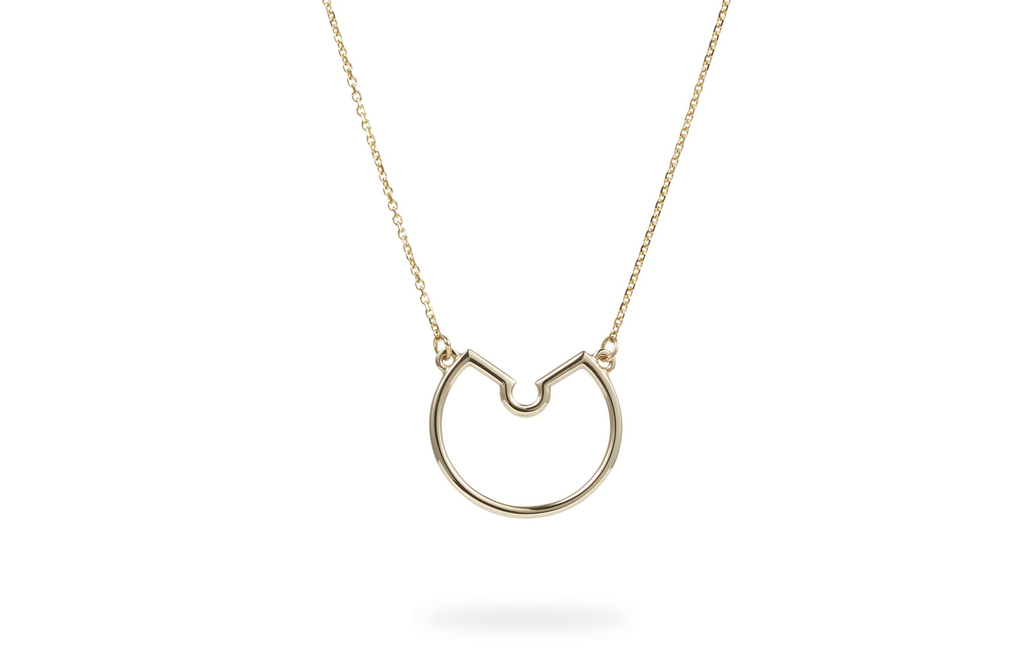 Small Naked Hoop Necklace by Luke Rose - 14ct Yellow Gold Diamond Cut Chain with 9ct Yellow Findings