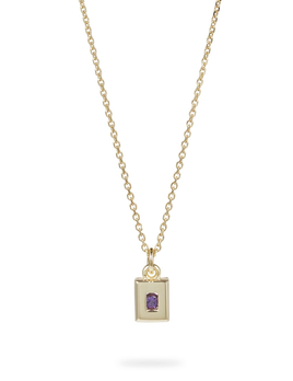 Static Rock Necklace by Luke Rose - 14ct Yellow Gold Diamond Cut Chain with 9ct Yellow Gold Setting and Findings -  Available in your choice of Gemstone: Black, White, Pink, Blue, Yellow Sapphire, Tsavorite Garnet and Amethyst