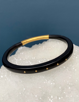 Lisa Black Jewellery - Dreamweaver Bangle - Polished Vintage Black Horn with 5 22ct Gold Rivets - Handmade in Australia