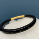 Lisa Black Jewellery - Dreamweaver Bangle - Polished Vintage Black Horn with 3 22ct Gold Rivets - Handmade in Australia