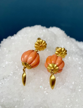 Lisa Black Jewellery - Angel Drop Earrings - Pale Coral Bead with Coral Teardrop - 22ct Gold - Handmade in Australia