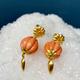 Lisa Black Jewellery - Angel Drop Earrings - Pale Coral Bead with Coral Teardrop - 22ct Gold - Handmade in Australia