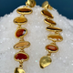 Lisa Black Jewellery - Rose Drop Earrings - Long Tiered Honey Coloured Tourmaline  - 22ct Gold - Handmade in Australia