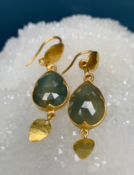 Lisa Black Jewellery - Sapphire Jane Tear Drop Earrings - Corundum Blue Sapphire - 22ct Gold - Handmade in Australia