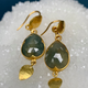 Lisa Black Jewellery - Sapphire Jane Tear Drop Earrings - Corundum Blue Sapphire - 22ct Gold - Handmade in Australia