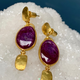 Lisa Black Jewellery - Ruby Malabar Oval Earrings - Corundum is the geological species that ruby and sapphire are found within and this deep dark red with the spectacular chatoyance - 22ct gold - Handemade in Australia