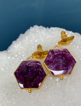 Lisa Black Jewellery - Ruby Malabar Hexagone Earrings - Corundum Ruby with Crystal Chatoyance - 22ct Gold - Handmade in Australia