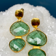 Lisa Black Jewellery - Double Emerald Drop Facet Cut Earrings - 22ct Gold - Handmade in Australia