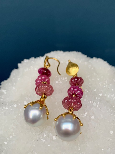 Lisa Black Jewellery - Sapphire and Pearl Babylon - AAA Grade  Australian South Sea pearl with Pink Melon Shaped Sapphires - 22ct Gold - Handmade in Australia