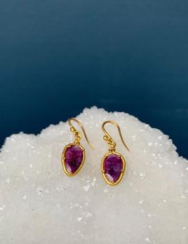 Lisa Black Jewellery - Ruby Sheild Shape Earrings - Ruby Corumdum with crystal from chatoyance - 22ct gold - Handmade in Australia